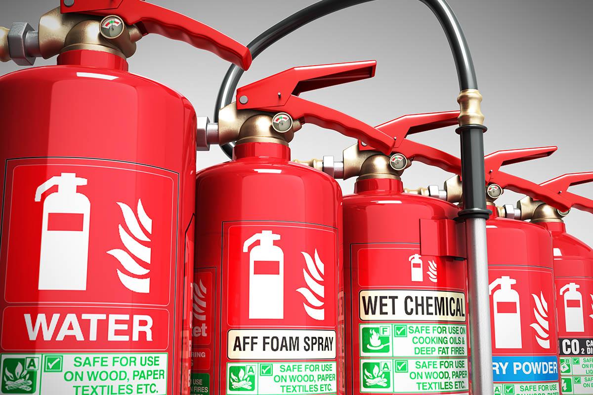Fire extinguishers isolated on grey background Various types of extinguishers 3d illustration